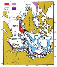 Перенос ледового и айсбергового материала по поверхности морей и океана в Арктике