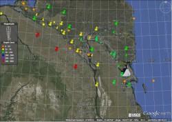 Схема района работ по проекту SIOLA в районе дельты р. Лены и п. Тикси