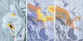 Пример карт распределения очагов нефтегазообразования, рассчитанных для различных стратиграфических комплексов Охотского моря, Северного и Среднего Каспия