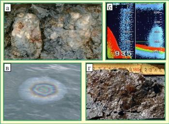Примеры нефте- газо- гидратопроявлений на ст. Горевой утес оз. Байкал
